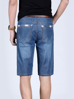 Blue Denim Straight Pocket Linking Clear Line Half Men Shorts for Casual