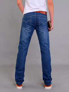 Blue Denim Slim Straight Clear Line Long Men Pants for Casual
