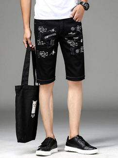 Black Slim Pattern Holes Located Printing Half Men Shorts for Casual