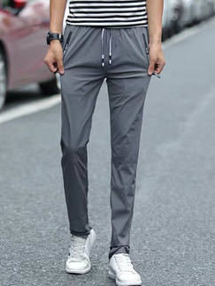 Grey Slim Water-Proof Pocket-Linking Band Belt Long Men Pants for Casual