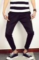 Black Plus Size Loose Bind Feet Side-Linking Adjustable Waist Long Men Pants for Casual