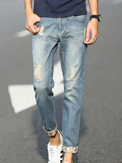 Blue Denim Loose Plus Size Slim Holes Grid-Hemming Long Men Pants for Casual