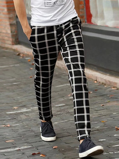 Black and White Slim Grid Adjustable Waist Band Belt Long Men Pants for Casual Party