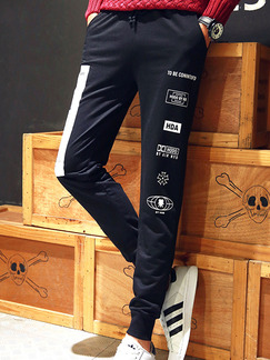 Black and White Loose Plus Size Feet Adjustable Waist Contrast Linking Stripe Located Printing Long Men Pants for Casual
