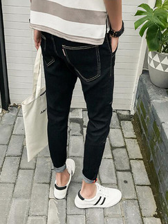 Black Denim Plus Size Slim Clear Line Leg Opening Linking Long Men Pants for Casual