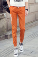 Orange Plus Size Loose Bind Feet Adjustable Waist Letter-Linking Band Long Men Pants for Casual