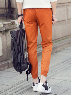 Orange Plus Size Loose Bind Feet Adjustable Waist Letter-Linking Band Belt Long Men Pants for Casual