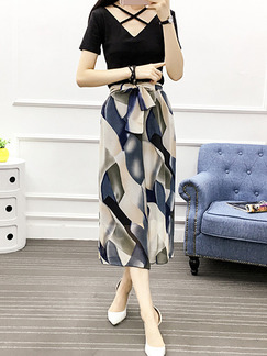 Colorful Loose Chiffon Printed High Waist Wide Leg Band Belt Three Quarter Pants for Casual Party