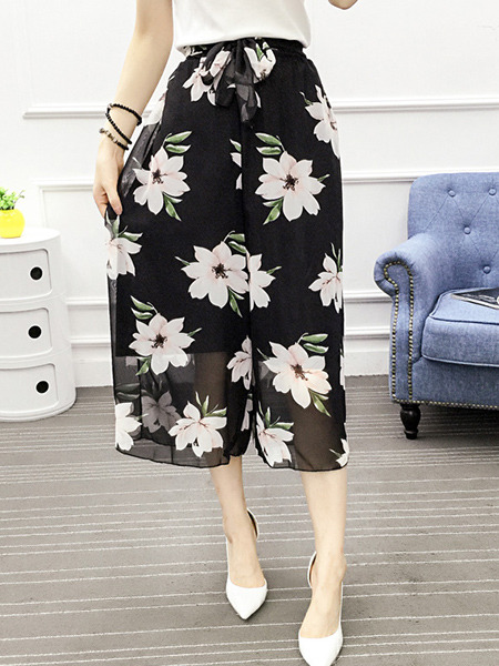 Black and White Loose Chiffon Printed High Waist Wide Leg Band Floral Three Quarter Pants for Casual Party