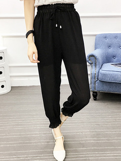 Black Plus Size Loose Adjustable Waist Band Belt Harlan Bind Feet Three Quarter Pants for Casual