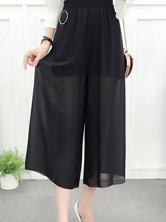 Black Loose Wide-Leg High Waist Pants for Casual Party