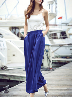 Blue Chiffon Wide Leg Adjustable Waist Pocket Pants for Casual