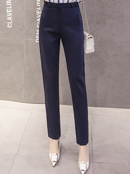 Blue Plus Size Harlan High Waist Pockets  Pants for Casual Office Evening