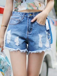 Blue Denim Holes Edging Contrast Straps Side One Quarter Shorts for Casual