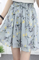 Grey Colorful Loose Printed Chiffon Wide Leg Adjustable Waist Band Belt Floral One Quarter Shorts for Casual Party