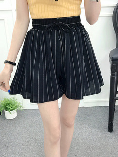 Black Loose Stripe Chiffon Wide Leg Adjustable Waist Band Belt One Quarter Shorts for Casual Party