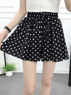 Black Polka Dot Loose Wave Point Chiffon Wide Leg Adjustable Waist Band Belt One Quarter Shorts for Casual Party