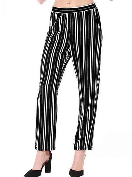 White and Black Slim Stripe Pants Pants for Casual Party