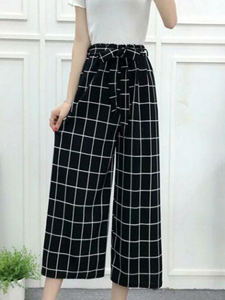 Black and White Grid Wide-Leg Band Belt Long Pants Pants for Casual Party