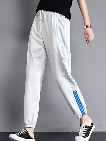 White Loose Contrast Side Stripe Band Belt Long Pants for Casual Sporty