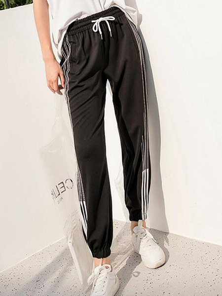 Black Loose Contrast Side Stripe Band Belt Long Pants for Casual Sporty