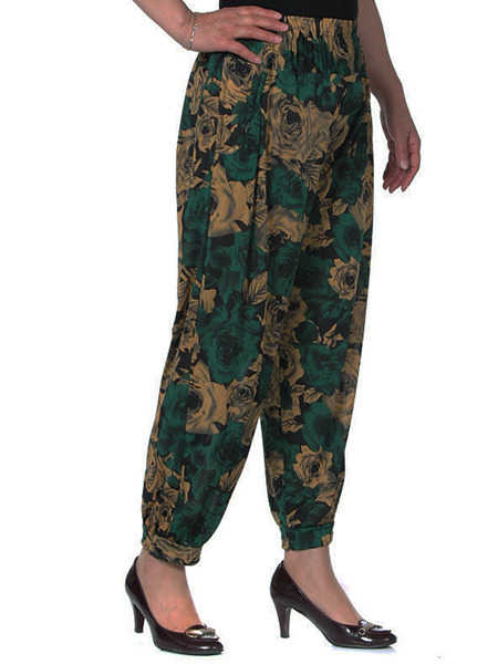 Yellow and Dark Green Loose Printed Harlen Long Pants for Casual