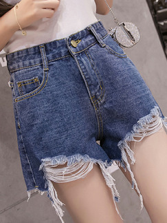 Dark Blue Denim Wide-Leg Holes High Waist Shorts for Casual