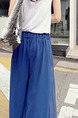 Royal Blue Loose Chiffon Wide-Leg  Pants for Casual Party