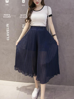 Navy Blue Loose Pleated Ruffle Wide-Leg Pants for Casual Party