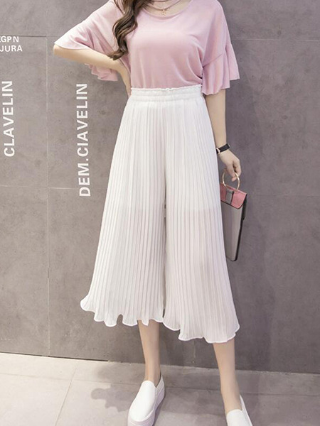 White Loose Pleated Ruffle Wide-Leg Pants for Casual Party
