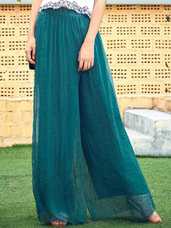 Deep Blue Loose High Waist Wide-Leg  Pants for Casual Party Beach