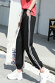Black Loose Harlen Stripe Side Long  Pants for Casual Sporty