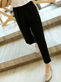Black Loose Harlen Long Plus Size Pants for Casual Office Evening Party
