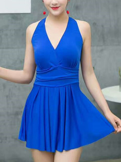 Blue V Neck Stitching One-Piece Polyester Swimwear