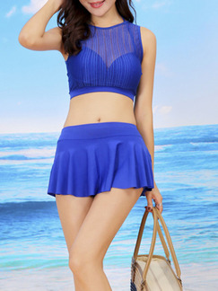 Blue Two-Piece Set Polyester Swimwear