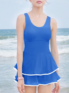 Blue One-Piece Contrast Linking Polyester Swimwear