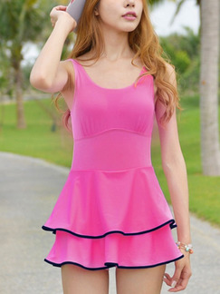 Pink One-Piece Contrast Linking Polyester Swimwear