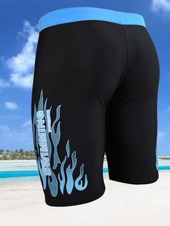 Blue and Black Trunks Contrast Located Printing Polyester Swim Shorts Swimwear