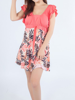 Pink and White V Neck Printed Linking One-Piece Cute Polyester Swimwear