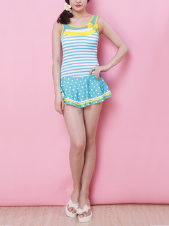 Turquoise White and Yellow Stripe Contrast Linking One-Piece Polyester Swimwear