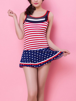 White Red and Blue Stripe Contrast Linking One-Piece Polyester Swimwear
