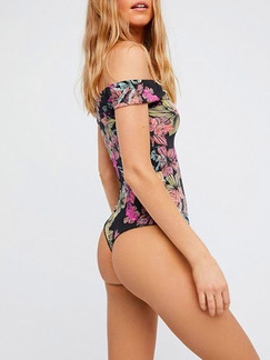 Black Colorful One-Piece Printed Polyester Swimwear