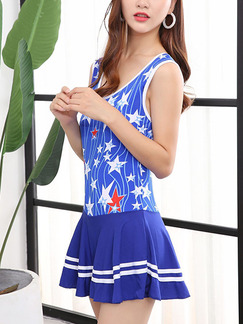 Blue White and Red One-Piece Polyester Swimwear