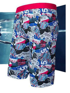 Colorful Trunks Printed Plus Size Polyester Swim Shorts Swimwear