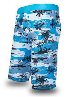 Blue Colorful Printed Trunks Polyester Swim Shorts Swimwear