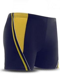 Blue and Yellow Trunks Contrast Plus Size Polyester Swim Shorts Swimwear