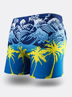 Blue and Yellow Trunks Printed Nylon Swim Shorts Swimwear