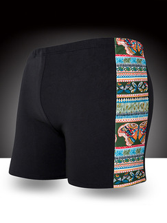 Pasabuy Black Colorful Linking Printed Trunks Polyester Swim Shorts Swimwear