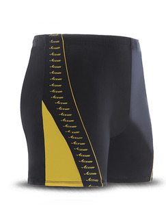 Black and Yellow Linking Trunks Nylon Swim Shorts Swimwear