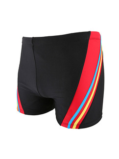 Black and Red Drawstring Contrast Trunks Polyester Swim Shorts Swimwear